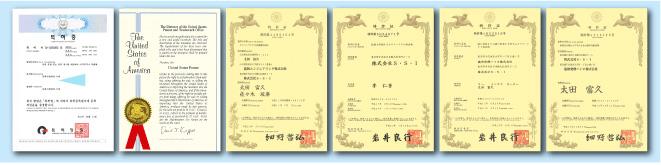 日米韓加の4ヵ国にて特許を取得